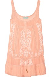 Melissa Odabash Jaz Embroidered Voile Dress Orange