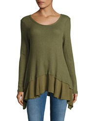 Design Lab Lord And Taylor Asymmetrical Thermal Knit Top Olive