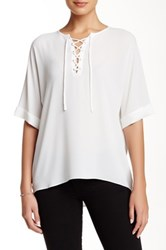 Zoa Elbow Sleeve Lace Up Blouse White