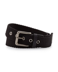Will Leather Goods Woven Web Belt Black Gray