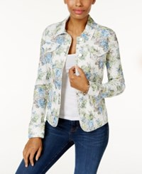 Charter Club Floral Print Denim Jacket Only At Macy's Light Blue Air Combo
