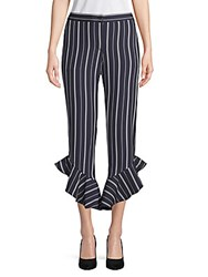 Saks Fifth Avenue Stripe Ruffled Cuff Pants Navy White