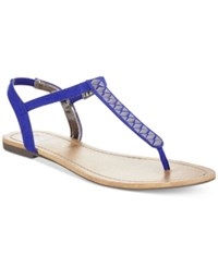 Material Girl Sage T Strap Flat Thong Sandals Only At Macy's Women's Shoes Cobalt