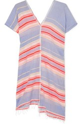 Lemlem Fiesta Asymmetric Striped Frayed Cotton Blend Gauze Tunic Lavender
