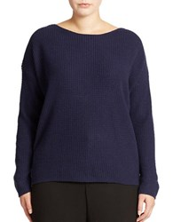 Lord And Taylor Plus Wool Blend Waffle Knit Sweater Evening Blue
