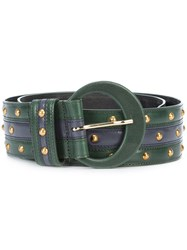 Oscar De La Renta Studded Belt Leather L Green