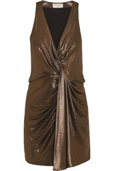 Saint Laurent Draped Lame Mini Dress Gold