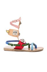 Ancient Greek Sandals X Peter Pilotto Leather Low Gladiator Sandals In Neutrals Red Blue