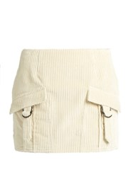 Anthony Vaccarello Ribbed Velvet Mini Skirt Cream