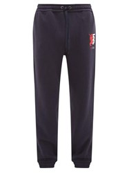 Burberry Marshall Logo Embroidered Cotton Track Pants Navy