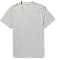 James Perse Melange Combed Cotton Jersey T Shirt Gray