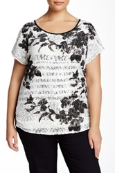 Vanilla Sugar Floral Silhouette Lace Front Tee Plus Size Black