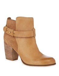 Dune Parmar Leather And Suede Booties Tan