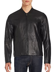 Michael Kors Leather Racer Jacket Black