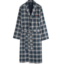 Hugo Boss Bo Plaid Cotton Twill Robe Gray