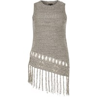 River Island Womens Grey Knitted Fringed Asymmetric Vest