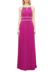 Ted Baker Vickex Embellished Trim Pleated Maxi Dress Fuchsia