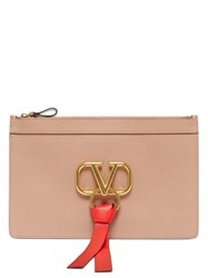 Valentino V Ring Leather Pouch Nude