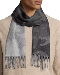 Begg And Co Colorblock Camouflage Cashmere Scarf W Fringe Gray Grey Gray Charcoal