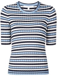 Veronica Beard Striped Knit Top Blue