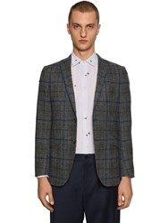 Etro Checked Wool And Mohair Blend Jacket Grey