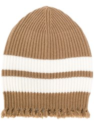 Msgm Striped Frayed Knitted Beanie Men Polyamide Viscose Cashmere Wool One Size Brown