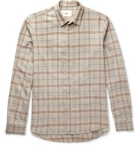 Folk Checked Cotton And Wool Blend Shirt Beige