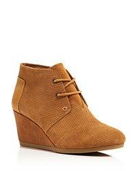 Toms Corduroy Suede Desert Wedge Booties Brown Sugar