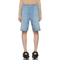 Maison Martin Margiela Mm6 Blue Denim Elastic Waist Shorts