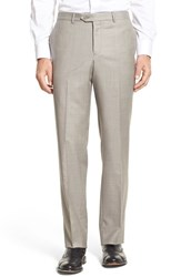 Men's Nordstrom Men's Shop Flat Front Sharkskin Wool Trousers