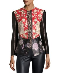 Alexander Mcqueen Floral Patchwork Leather Jacket Black Pattern Multi Colors