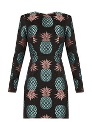 House Of Holland Pineapple Long Sleeved Jacquard Dress Black Multi