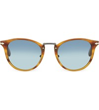Persol Round Sunglasses Striped Brown