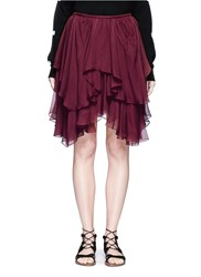 Chloe 'Pointy' Tiered Ruffle Silk Georgette Skirt Purple
