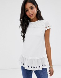 Ted Baker Fellie Top With Cut Work White