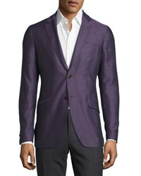 Etro Medallion Micro Jacquard Sport Coat Deep Purple Multi