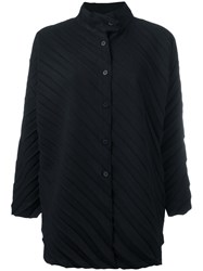 Issey Miyake Cauliflower Ribbed Knitted Coat Black