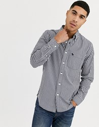 Abercrombie And Fitch Icon Logo Slim Fit Gingham Check Poplin Shirt In Navy White