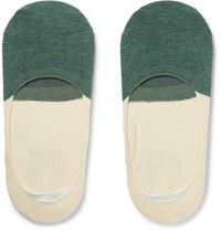 Anonymous Ism Two Tone Organic Cotton No Show Socks Green