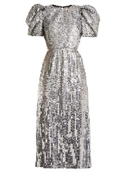 Carolina Herrera Open Back Sequined Tulle Gown Silver