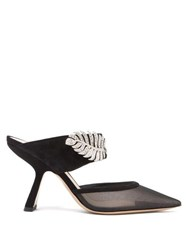 Nicholas Kirkwood Monstera Crystal Embellished Suede And Mesh Mules Black