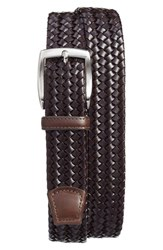 Torino Belts Men's Big And Tall Woven Leather Belt Brown