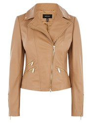 Karen Millen Leather Biker Neutral