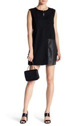 Jakett Cotton Sailcloth Vegan Leather Trim Dress Black