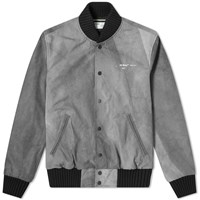 Off White Airport Tape Varsity Jacket Grey