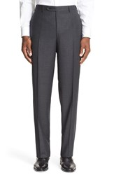 Canali Men's Big And Tall Flat Front Check Wool Trousers Charcoal