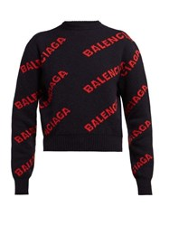 Balenciaga Logo Intarsia Wool Blend Sweater Navy Multi