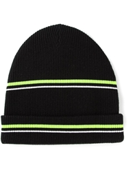 T By Alexander Wang Striped Ribbed Beanie Black