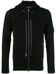 Stone Island Shadow Project Multi Zip Perforated Detail Hoodie Black