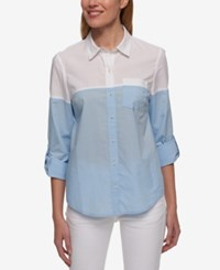Tommy Hilfiger Cotton Colorblocked Shirt Only At Macy's Oxford Blue White